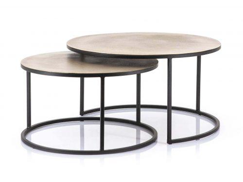 Snugg By-Boo Setto brass, kuparinväriset leveät pyöreät sohvapöydät