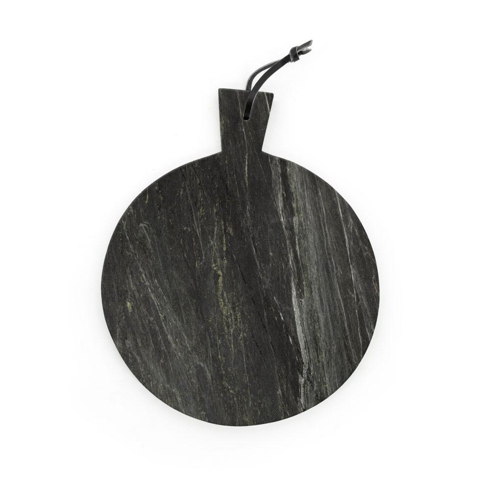 Snugg musta pyöreä marmorinen leikkuulauta