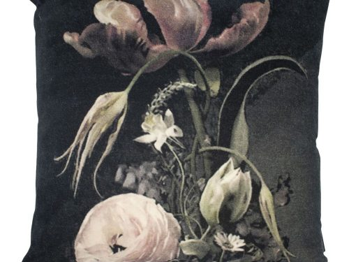 Snugg musta samettityyny kukkakuviolla 45x45