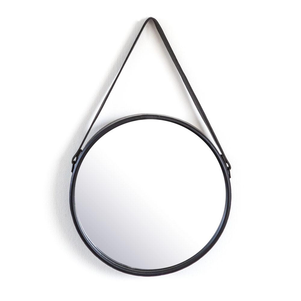 Snugg Flection pyöreä peili nahkaremmillä