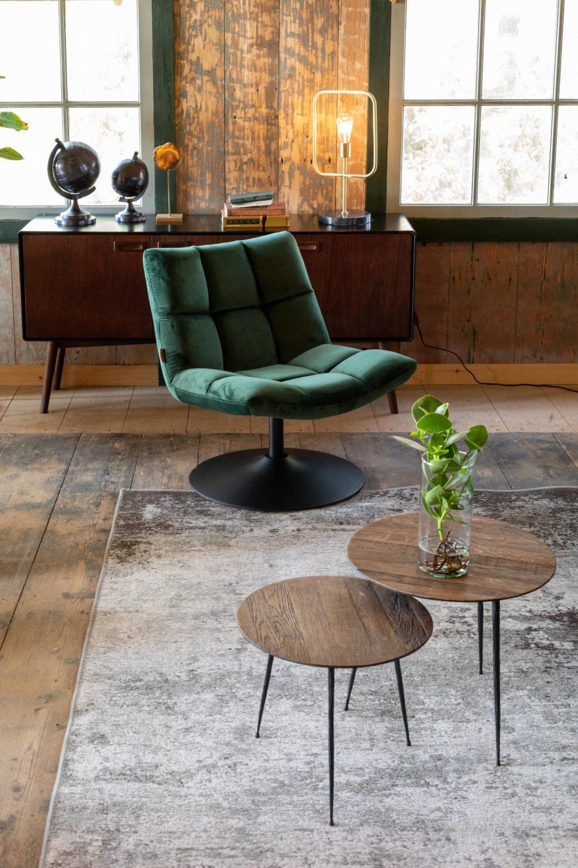 Snugg DutchBone Lounge Chair Bar velvet vihreä nojatuoli